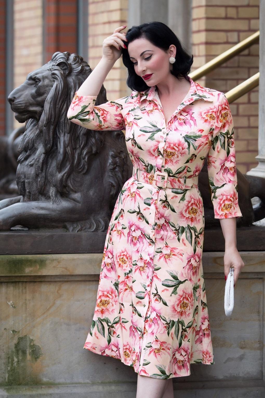 1950s Swing Dresses | 50s Swing Dress 50s Marston Floral Shirt Dress in Blush £81.18 AT vintagedancer.com
