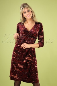 Mandy Crimson Wrap Dress Années 60 en Rouge Windsor