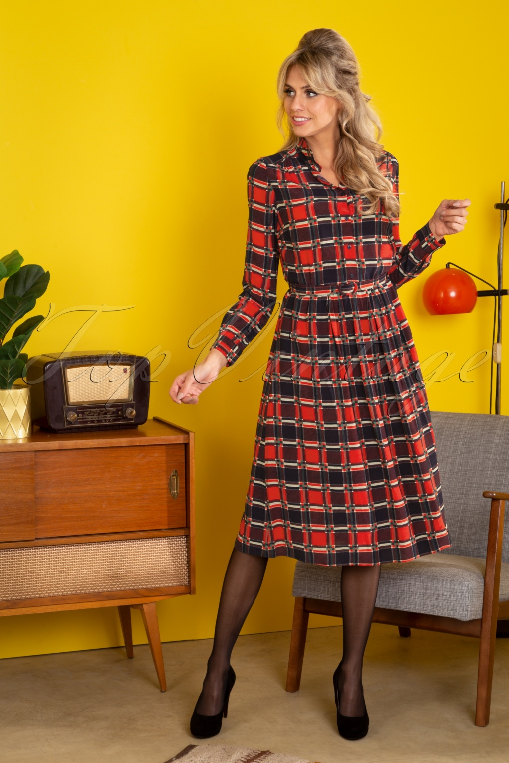 1960s Style Dresses, Clothing, Shoes UK 60s Olive Ecosse Dress in Fiery Red £170.57 AT vintagedancer.com