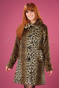 60s Betty Leopard Coat in Black
