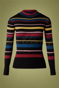 60s Lea Turtle Neck Sweater in Black Multi