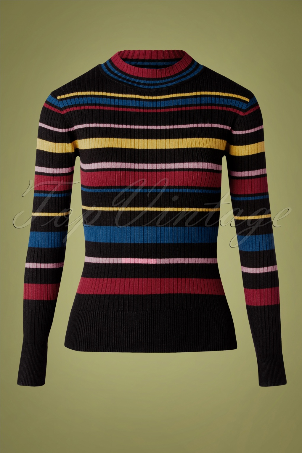 Vintage Sweaters, Retro Sweaters & Cardigan 60s Lea Turtle Neck Sweater in Black Multi £30.27 AT vintagedancer.com