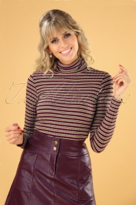 70s Rollneck Rib Huntley Stripe Top in Cherise Red