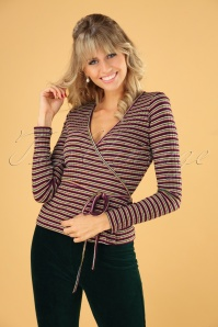 King Louie 70s Wrap Rib Huntley Stripe Top in Cherise Red
