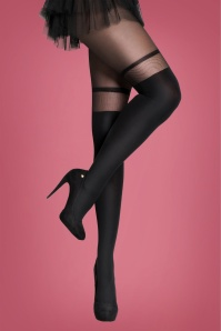 50s Overknee Effect Tights in Black
