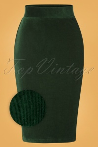 50s Rib Velours Tube Skirt in Pine Green