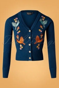 50s Ginny Woodland Cardigan in Blue
