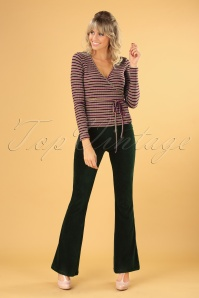 70s Flared Rib Velours Legging in Pine Green