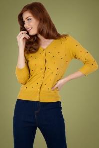 Vixen 30937 Diana Polka Dot Cardigan in Mustard 20190528 020L