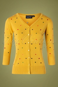 Vixen 30937 Cardigan 50s Diana Yellow Polkadots 09042019 002W