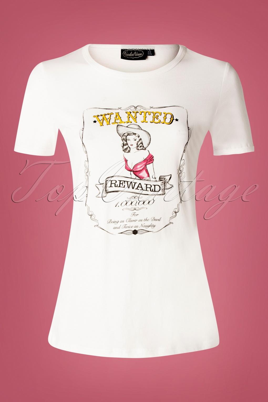 Wanted T-Shirt Années 50 en Blanc