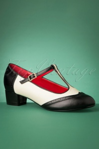 60s Georgia T-Strap Pumps in Black and White
