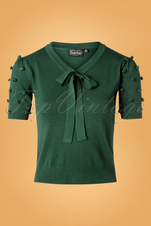 Vixen 30941 40s Elaine Bow Top in Green 20190903 001W