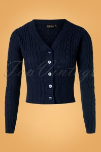 50s Mabel Cropped Cardigan in Navy