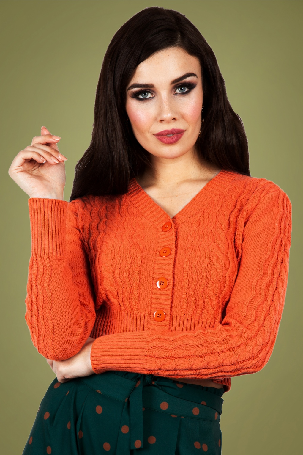 Mabel Cropped Cardigan Années 50 en Orange