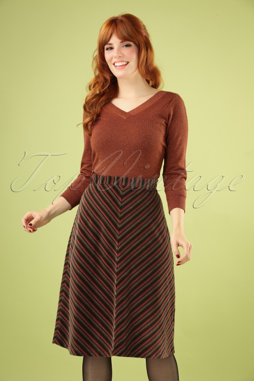 King Louie 29439 Trudy Skirt Nikki Stripe Pine Green20190620 040MW