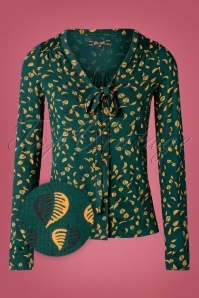 60s Picallily Bow Blouse in Dragonfly Green