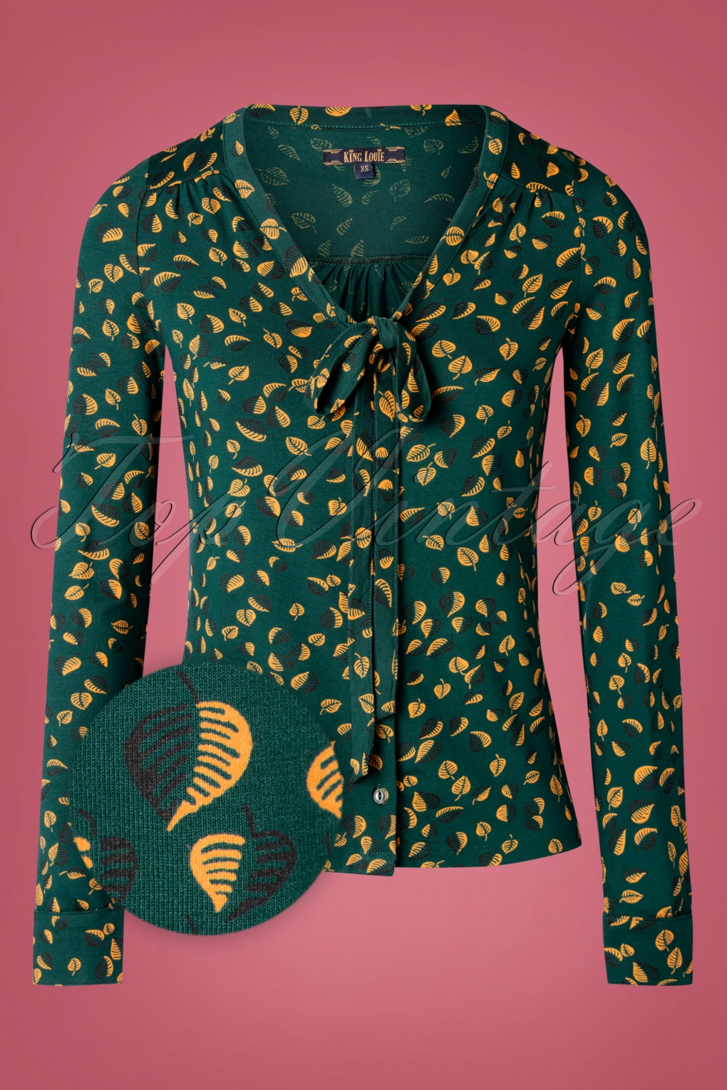 1960s Style Dresses, Clothing, Shoes UK 60s Picallily Bow Blouse in Dragonfly Green £61.22 AT vintagedancer.com