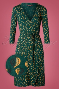 Mandy Picallily Wrap Dress Années 60 en Vert Libellule