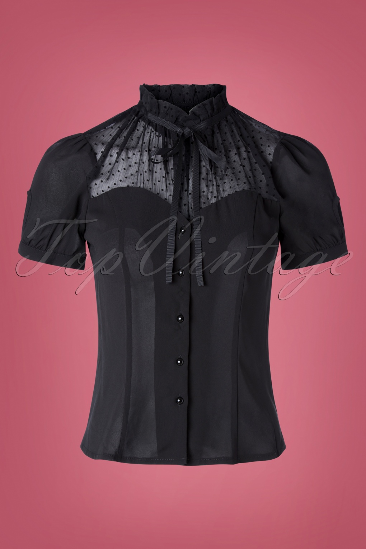 Victorian Blouses, Tops, Shirts, Sweaters 50s VV X Acid Doll Coalette Blouse in Black £33.81 AT vintagedancer.com