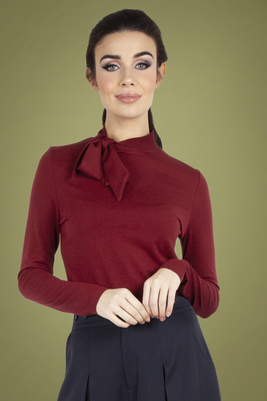1950s Rockabilly & Pin Up Tops, Blouses, Shirts 50s Josie Tie Neck Top in Burgundy £22.24 AT vintagedancer.com