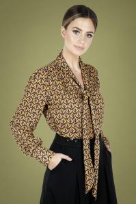 Vixen 30911 Cassie Pussey Bow Shirt in Mustard 20190528 020L