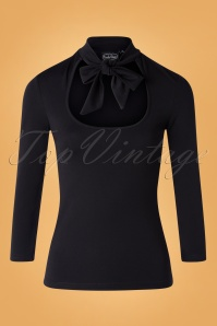 50s Gail Tie Neck Top in Black