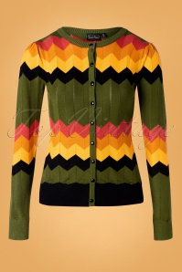 Vixen 60s Gemma Chevron Cardigan in Green