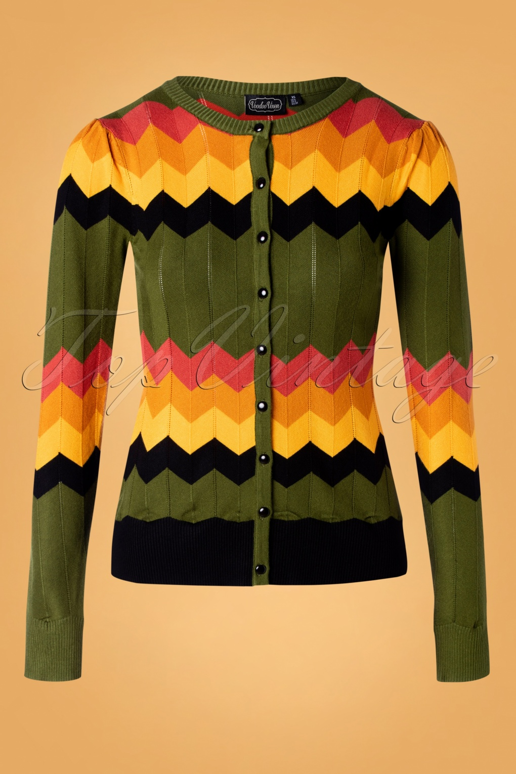 1960s Style Dresses, Clothing, Shoes UK 60s Gemma Chevron Cardigan in Green £41.09 AT vintagedancer.com