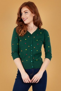 Vixen 30938 Diana Polka Dot Cardigan in Green 20190528 020L