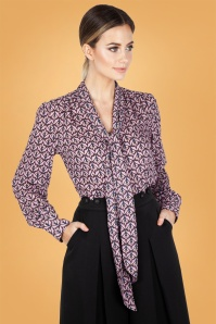 Vixen 70s Cassie Pussey Bow Blouse in Lilac