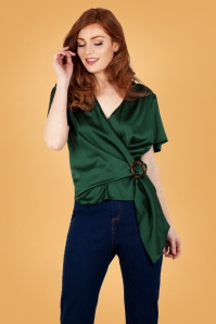 50s Nina Satin Wrap Blouse in Emerald Green