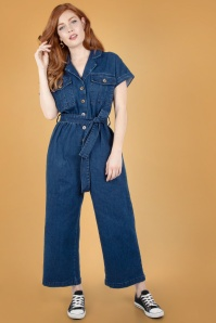 Vixen 70s Poppy Utility Denim Jumpsuit in Blue