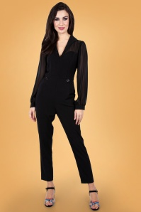Vixen 30947 Gia Cape Straight Leg Jumpsuit in Black 20190528 025LW
