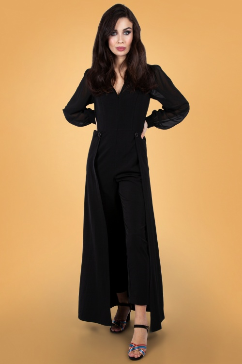 Vixen 30947 Gia Cape Straight Leg Jumpsuit in Black 20190528 023LW