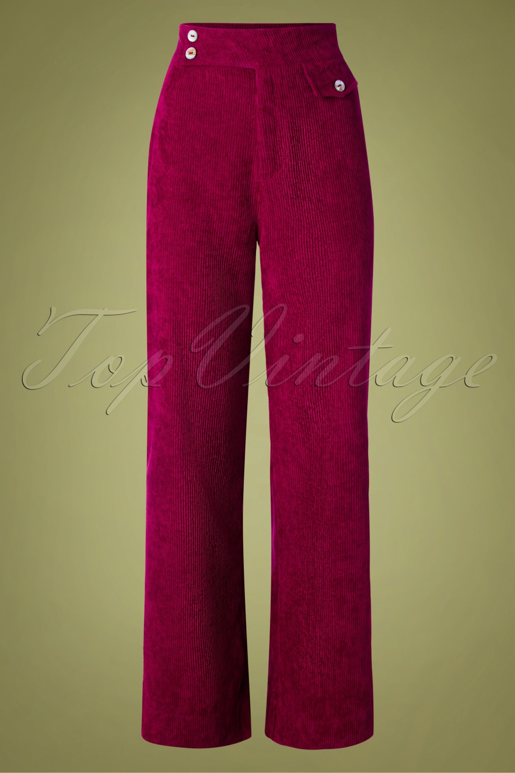 Vintage High Waisted Trousers, Sailor Pants, Jeans 70s Reese Wide Leg Corduroy Trousers in Burgundy £40.22 AT vintagedancer.com