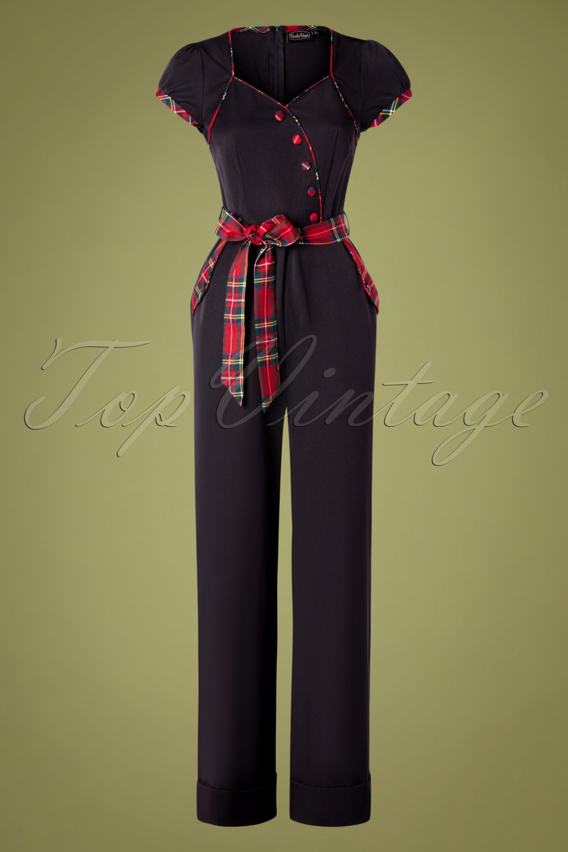 1950s Pants & Jeans- High Waist, Wide Leg, Capri, Pedal Pushers 50s Vanessa Wide Leg Jumpsuit in Black £63.84 AT vintagedancer.com