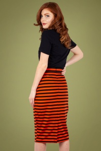 Vixen 30909 Marnie Striped Pencil Skirt in Red 20190528 020L