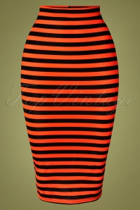 50s Marnie Striped Pencil Skirt in Red and Black