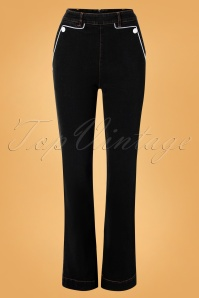 50s Hazel Wide Leg Denim Trousers in Black