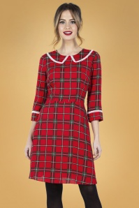 Vixen 30901 Harley Shadow Collar Tartan Dress in Red 20190528 020L