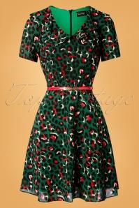 50s Melissa Belted Leopard Dress in Green