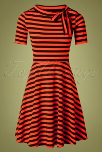 Vixen 30895 Marnie Striped Flare Dress in Red 20190906 0013W