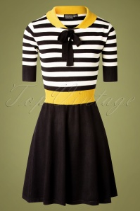 Vixen 30894  Sofie Yellow Black White stripe Dress 20190905 0004W