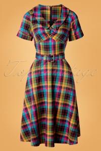 50s Camilla Plaid Swing Dress in Multi