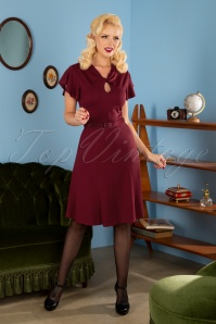 50s Sharon Twist Swing Dress in Burgundy