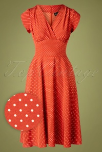 50s Delia Polkadot Dress in Copper