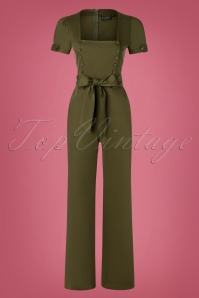 Vixen 40s Martha Wide Leg Jumpsuit in Khaki