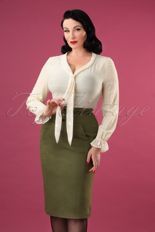 Vixen 30906 Martha Pencil Skirt Green 20190905 4185W