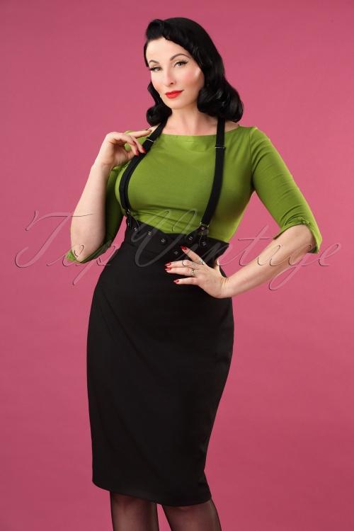 Vixen 30908 Ellen Suspender Pencil Skirt in Black 20190905 4554W